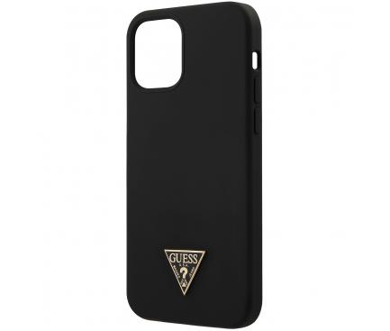 Husa TPU Guess Metal Triangle pentru Apple iPhone 12 / Apple iPhone 12 Pro, Neagra, Blister GUHCP12MLSTMBK