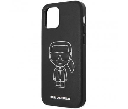 Husa Piele Karl Lagerfeld Embossed pentru Apple iPhone 12 / Apple iPhone 12 Pro, Alba Neagra, Blister KLHCP12MPCUIKWH