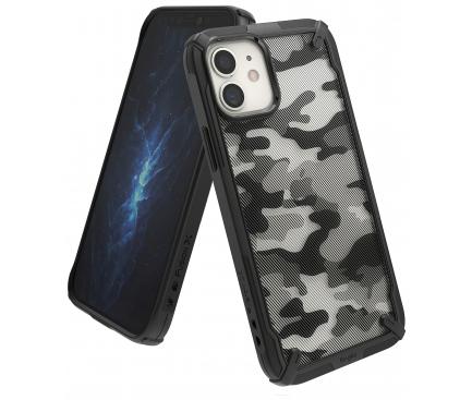 Husa Plastic - TPU Ringke Fusion X Design Camo pentru Apple iPhone 12 / Apple iPhone 12 Pro, Neagra, Blister XDAP0016