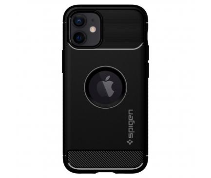 Husa TPU Spigen Rugged Armor pentru Apple iPhone 12 mini, Neagra, Blister ACS01743