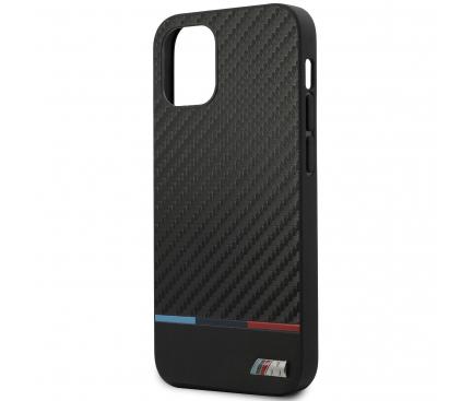 Husa Fibra Carbon BMW pentru Apple iPhone 12 Pro Max, M Collection, Neagra, Blister BMHCP12LPUCARTCBK
