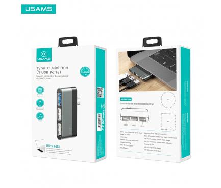 Hub USB Type-C Usams - 3xUSB, Gri, Blister SJ461HUB01