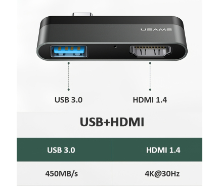 Hub USB Type-C Usams - USB+HDMI, Gri, Blister SJ462HUB01