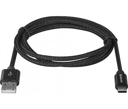 Cablu Date si Incarcare USB la USB Type-C Defender 2.1A, 1 m, Negru, Blister USB09-03T