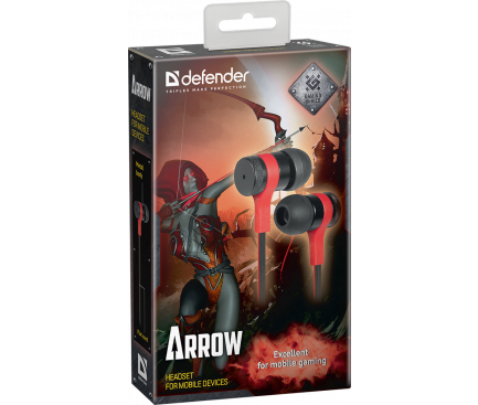 Handsfree Casti In-Ear Defender Arrow, Cu microfon, 3.5 mm, 1.2m, Negru Rosu, Blister