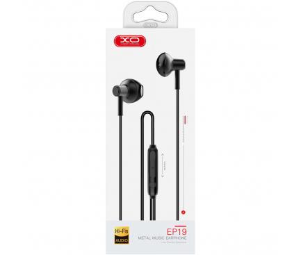 Handsfree Casti In-Ear XO Design EP19, Cu microfon, 3.5 mm, Negru, Blister