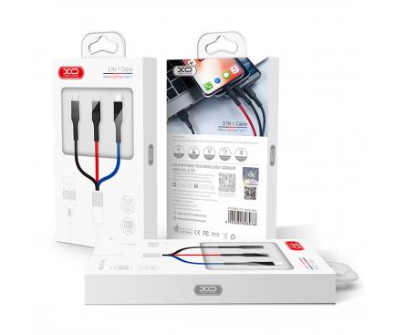 Cablu Incarcare USB - Lightning / USB Type-C / MicroUSB XO Design NB54, 1.2 m, 3 in 1, Multicolor, Blister