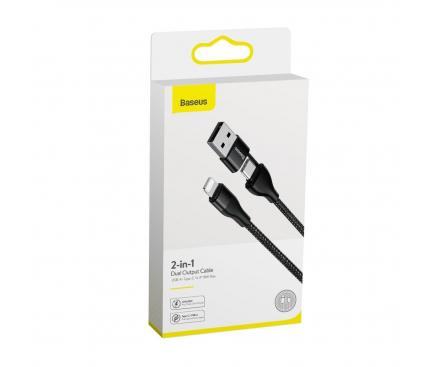 Cablu Date si Incarcare USB - Lightning / USB Type-C Baseus, 1 m, 18W, 2A, Negru, Blister CATLYW-G01