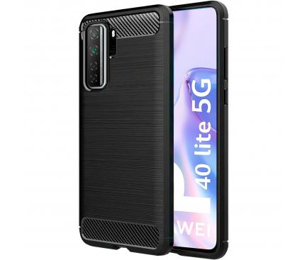 Husa TPU OEM Carbon pentru Huawei P40 lite 5G, Neagra