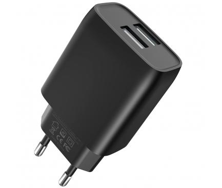 Incarcator Retea USB XO Design L57, 2 X USB, 2.4A, Negru, Blister