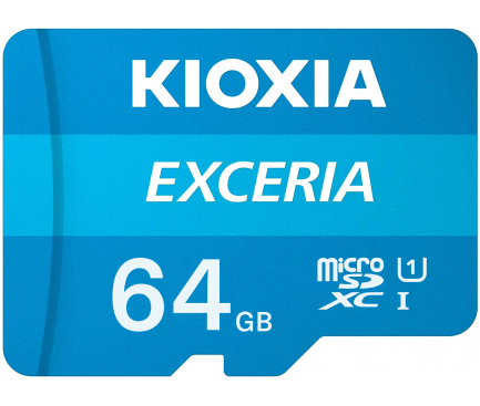 Card Memorie MicroSDXC KIOXIA Exceria (M203) cu Adaptor, 64Gb, Clasa 10 / UHS-1 U1 LMEX1L064GG2