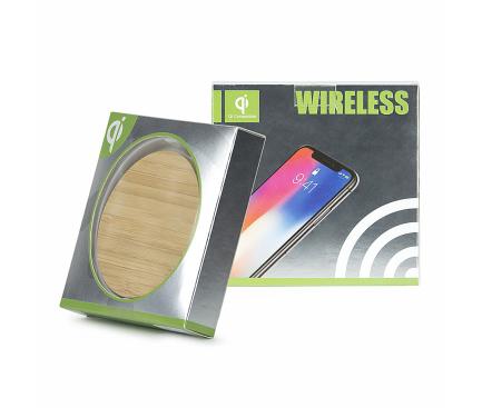 Incarcator Retea Wireless OEM WD1 WOOD, 1A, 5V, Maro, Blister