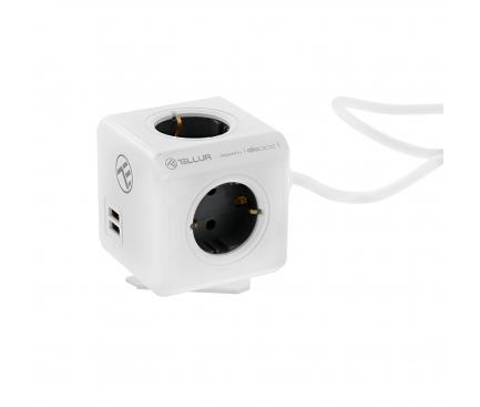 Prelungitor Tellur cu 4 prize Schuko si 2 Porturi USB, PowerCube, 1.5m, Alb, Blister TLL151111