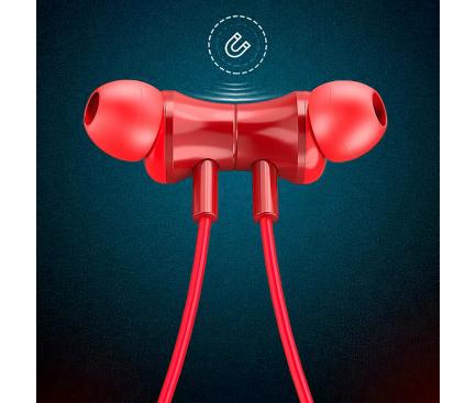 Casti Bluetooth Lenovo QE08 IPX5 Waterproof 9D Audio, Neckband, Rosii