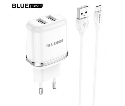 Incarcator Retea cu cablu MicroUSB BLUE Power BMBA25A Outstanding, 2 X USB, 2.4 A, Alb, Blister