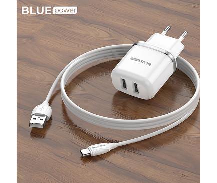 Incarcator Retea cu cablu USB Tip-C BLUE Power BCBA25A Outstanding, 2 X USB, 2.4 A, Alb, Blister