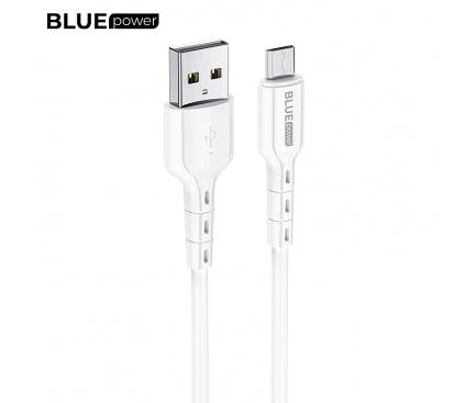Cablu Date si Incarcare USB la MicroUSB BLUE Power BDU01 Novel, 1 m, 2.4 A, Alb, Blister