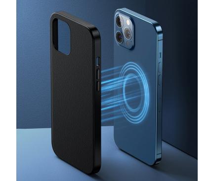 Husa Piele Baseus Magnetic pentru Apple iPhone 12 mini, MagSafe, Neagra LTAPIPH54N-YP01