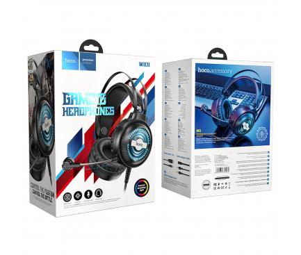 Casti Gaming HOCO W101 Streamer, cu microfon, 3.5 mm, USB, Negre