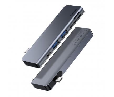 Hub USB Baseus Harmonica, 5in1 (Type-C to 2x USB3.0 / TF / SD / Typ C), Gri CAHUB-K0G