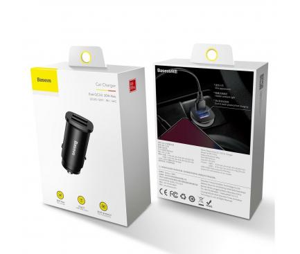 Incarcator Auto USB Baseus BS-C15Q, 2 X USB, Quick Charge, 30W, Negru CCALL-DS01