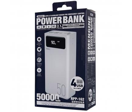 Baterie Externa Powerbank Remax Mengine RPP-162, 50000 mA, Standard Charge (5V), 2.1A, Afisaj Led, Alba