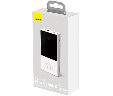 Baterie Externa Powerbank Baseus Super Mini, 10000 mA, Quick Charge 3.0 - Power Delivery (PD), 22.5 W, Alba, Blister PPMN-A02
