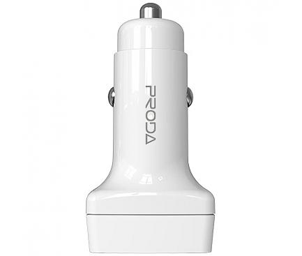 Incarcator Auto USB Proda PD-C31, 1 X USB Tip-C - 2 X USB, Quick Charge, 18W, Alb