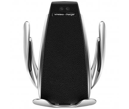 Incarcator Auto Wireless OEM QI-AT01, Quick Charge, 10W, Senzor IR, Negru Argintiu