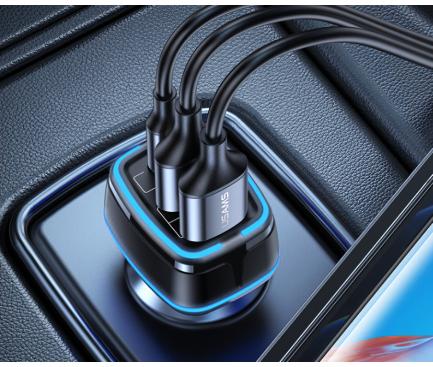 Incarcator Auto USB Usams C24, 1 X USB Tip-C - 2 X USB, Quick Charge, 80W, Negru CC126TC01