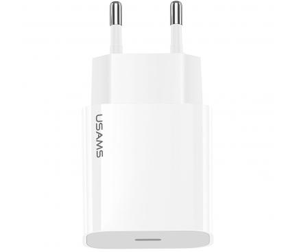Incarcator Retea USB Usams T34, 1 X USB Tip-C, Quick Charge, 20W, Alb CC118TC01