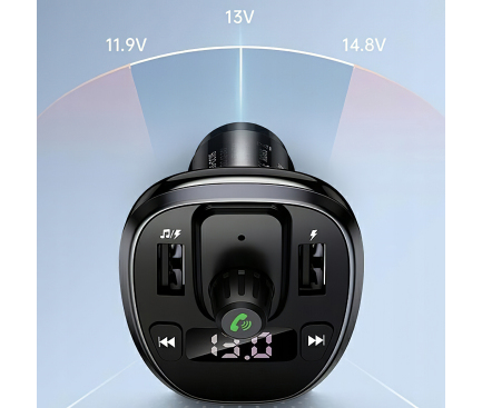 Modulator FM Bluetooth Usams C21, cu Buton Apel, Bluetooth 5.0, MP3 Player, 2 x USB, 3.4A, Negru CC115GC01