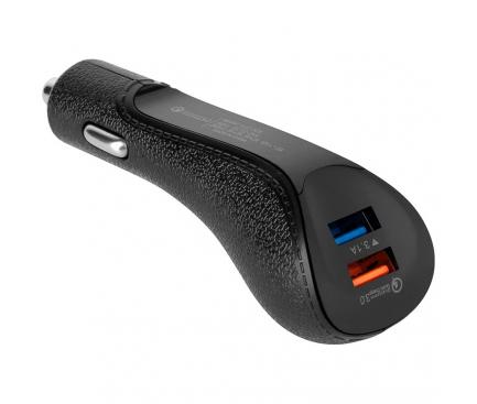 Incarcator Auto USB REBEL RB-6300, 2 X USB, Quick Charge, 18W, Negru
