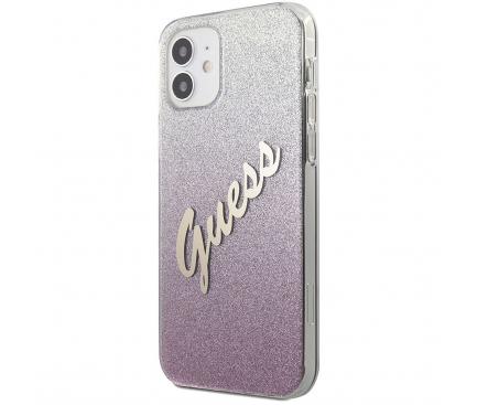 Husa Plastic - TPU Guess Vintage pentru Apple iPhone 12 mini, Roz GUHCP12SPCUGLSPI