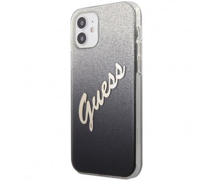 Husa Plastic - TPU Guess Vintage pentru Apple iPhone 12 mini, Neagra GUHCP12SPCUGLSBK