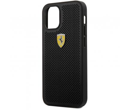 Husa Plastic - Piele Ferrari Off Track Perforated pentru Apple iPhone 12 mini, Neagra FESPEHCP12SBK