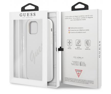 Husa TPU Guess Vintage Grey Script pentru Apple iPhone 12 mini, Alba GUHCP12SLSVSCR