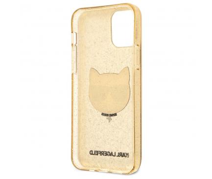 Husa TPU Karl Lagerfeld Choupette Head Glitter pentru Apple iPhone 12 mini, Aurie KLHCP12SCHTUGLGO