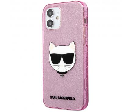Husa TPU Karl Lagerfeld Choupette Head Glitter pentru Apple iPhone 12 mini, Roz KLHCP12SCHTUGLP