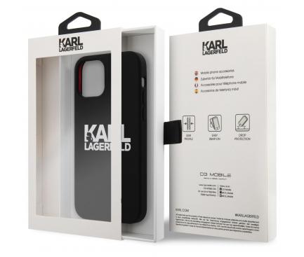 Husa TPU Karl Lagerfeld pentru Apple iPhone 12 mini, Stack White Logo, Neagra KLHCP12SSLKLRBK
