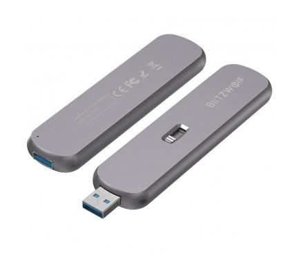 Rack Extern USB BlitzWolf pentru SSD M.2, USB 3.1, Argintiu BW-SSDE3