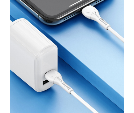 Cablu Date si Incarcare USB Type-C la Lightning HOCO X55, 1 m, 20W, Alb