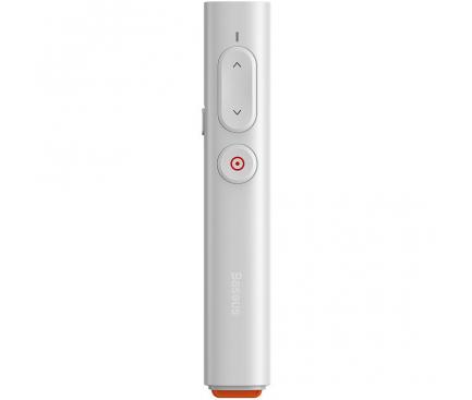 Laser Pointer Baseus Orange Dot PPT, pentru Prezentare, 2.4 GHz, Alb ACFYB-B02