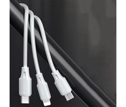 Cablu Incarcare USB - Lightning / USB Type-C / MicroUSB WK-Design WDC-010, 1.15 m, 2A, Alb WDC-103th