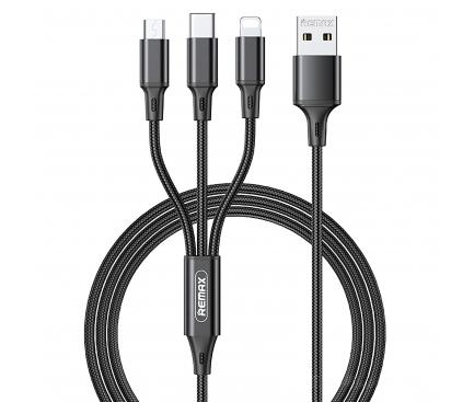 Cablu Incarcare USB - Lightning / USB Type-C / MicroUSB Remax Gition Series, 1.2 m, 3.1A, 3in1, Negru RC-189th