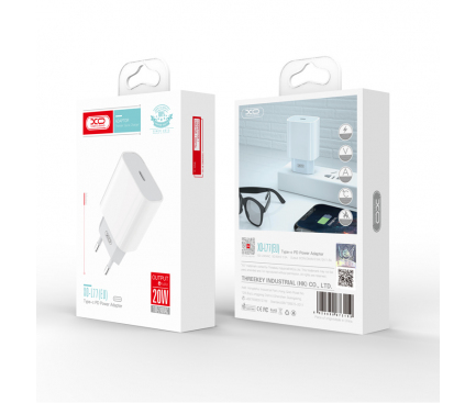 Incarcator Retea USB XO Design L77, Quick Charge, 20W, 1 X USB Tip-C, Alb