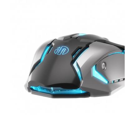 Mouse Wired USB Inphic PB6S, Gaming, RGB, Negru Argintiu