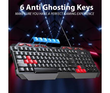 Tastatura USB Inphic V610, Gaming, Neagra Rosie