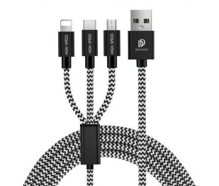 Cablu Incarcare USB - Lightning / USB Type-C / MicroUSB DUX DUCIS K-ONE Series, 1.2 m, 3 in 1, 2.4A, Negru