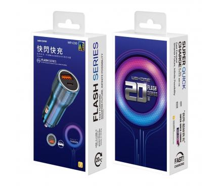 Incarcator Auto USB WK-Design WP-C30 KuaiShan, Quick Charge, 20W, 1 X USB - 1 X USB Tip-C, Albastru